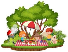 crianças fazem piquenique no parque isolado vetor