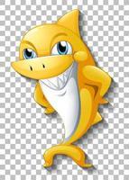 sorridente personagem de desenho animado de tubarão fofo isolado vetor