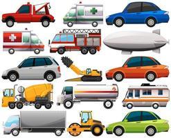 conjunto de diferentes tipos de carros e caminhões isolados no fundo branco vetor