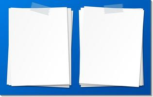 modelo de nota de papel vazio colar com fita adesiva vetor