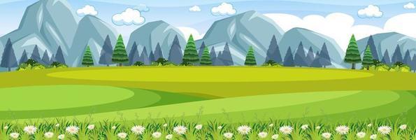 cena da natureza ao ar livre do prado vetor