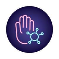 mão com covid19 vírus estilo partícula neon