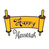 feliz pergaminho hanukkah com desenho de ilustração vetorial de letras