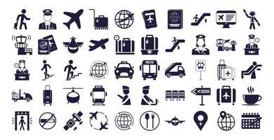 pacote de ícones definidos de aeroporto vetor