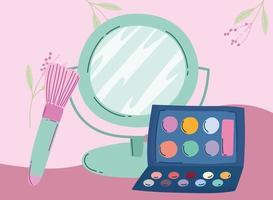 maquiagem cosméticos produto moda beleza espelho sombra pincel paleta vetor