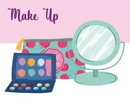 maquiagem cosméticos produto moda beleza cosmética bolsa espelho sombra pincel paleta vetor