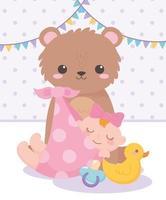 chá de bebê, menina urso de pelúcia pato e chupeta, celebração bem-vindo recém-nascido vetor