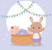 chá de bebê, menino na cesta e coelhinho com fralda, festa bem-vindo recém-nascido vetor