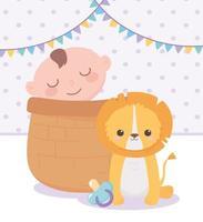 chá de bebê, garotinho na cesta e leão fofo com chupeta, celebração bem-vindo recém-nascido vetor
