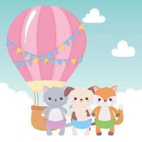 chá de bebê, desenho animado do céu de balão de ar de animais fofos, celebração bem-vindo recém-nascido vetor