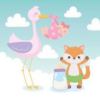 chá de bebê, desenho animado de cegonha com garotinha e raposa, celebração bem-vindo recém-nascido vetor