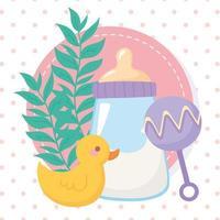 chá de bebê, chocalho de pato e mamadeira de leite vetor