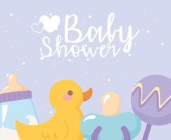 chá de bebê, brinquedos chocalho de pato, chupeta e mamadeira, festa bem-vindo recém-nascido vetor