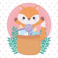 chá de bebê, raposinha com chocalho e chupeta, celebração bem-vindo recém-nascido vetor