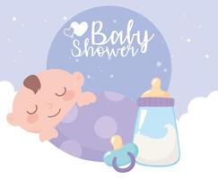 chá de bebê, garotinho no cobertor com mamadeira e chupeta, festa bem-vindo recém-nascido vetor