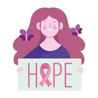 mês de conscientização do câncer de mama, borboletas de mulher feliz e frase de esperança, vetor
