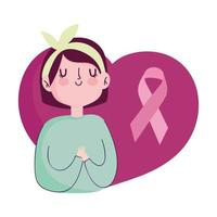 fita de menina de retrato de mês de conscientização de câncer de mama em vetor de coração