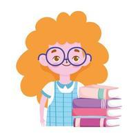 escola, estudante loira com uma pilha de livros vetor