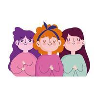 retrato fofo desenho animado meninas personagens isolado vetor