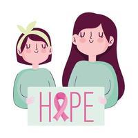 mês de conscientização do câncer de mama, mensagem de esperança de mulher e menina no cartaz vetor