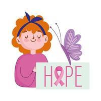 mês de conscientização do câncer de mama, texto de esperança de menina na decoração de borboleta de cartaz vetor