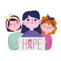 mês de conscientização do câncer de mama, mensagem de esperança do grupo feminino de desenho animado em pôster vetor
