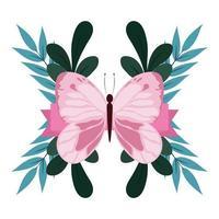 folhagem linda borboleta rosa deixa a natureza isolada design vetor