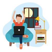 trabalhando em casa, homem usando laptop na cadeira à noite, pessoas em casa em quarentena vetor