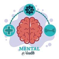 dia da saúde mental, funções do cérebro direito e esquerdo, tratamento médico psicológico vetor
