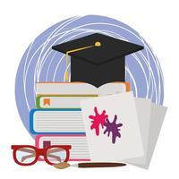 de volta às aulas, chapéu de formatura em óculos de livros e manchas coloridas em papéis vetor