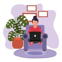 trabalhando em casa, mulher na cadeira de pernas cruzadas com laptop, pessoas em casa em quarentena vetor
