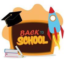volta às aulas, lousa livros e chapéu de formatura ensino fundamental vetor