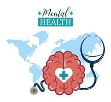 dia da saúde mental, estetoscópio mundial e cérebro, tratamento médico de psicologia vetor