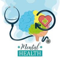 dia da saúde mental, estetoscópio do cérebro humano, suporte médico, psicologia, tratamento vetor