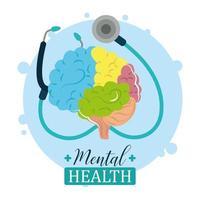 dia da saúde mental, estetoscópio médico e cérebro humano, tratamento psicológico vetor