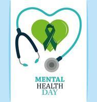 dia de saúde mental, fita com estetoscópio de coração verde, tratamento médico de psicologia vetor