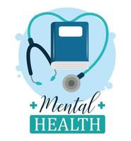 dia da saúde mental, estetoscópio livro psicologia tratamento médico vetor
