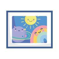 fundo de decoração de desenho de sol planeta arco-íris vetor