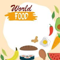 dia mundial da comida, pão, frango, frutas, vegetais, estilo de vida saudável, refeição, fundo vetor