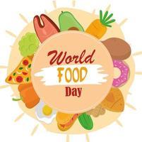 dia mundial da comida, quadro de refeição de estilo de vida saudável com forma de círculo vetor