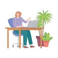 jovem trabalhando na mesa com o laptop no espaço do escritório vetor