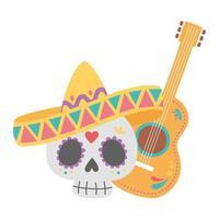 dia dos mortos, caveira com chapéu e guitarra celebração mexicana vetor