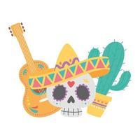 dia dos mortos, caveira com chapéu, guitarra e celebração mexicana de cactos vetor