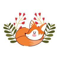 Olá outono dormindo fofa raposa floral folhas fundo de cogumelos vetor