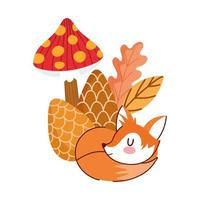 olá outono, dormindo raposa pinha cogumelo folhas folhagem vetor