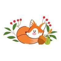 olá outono, dormindo raposa, bolota, flores, folhas, folhagem vetor