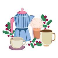 métodos de preparação de café, batido moka pot e xícaras vetor