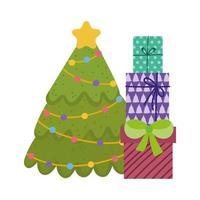 Feliz Natal, árvore com luzes estreladas e desenho de caixas de presente, desenho isolado