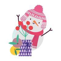 Feliz Natal, caixa de presente dos desenhos animados do boneco de neve e bagas do azevinho, design isolado