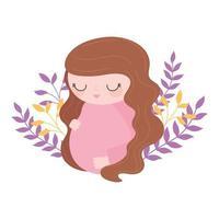 gravidez e maternidade, linda mulher grávida, decoração floral com flores vetor
